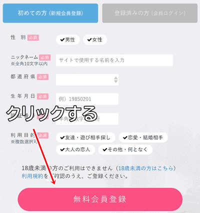 PCMAX登録情報入力画面