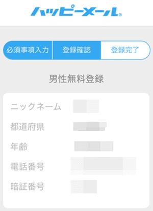ハッピーメール新規登録情報入力